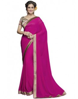 Designer Fancy Printed Dashing Pink Color Georgette Saree-KR1163 ( ST-266 )