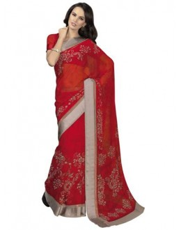 Designer Fancy Printed Pretty Red Color Georgette Saree -KR1148 ( ST-266 )
