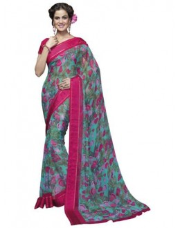 Designer Fancy Printed Stylish Multicolor Georgette Saree-KR1160 ( ST-266 )