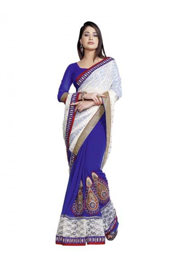 Heavy Designer Appealing Embroidered White & Blue Color Party Wear Saree-CB9515 ( ST-266 )