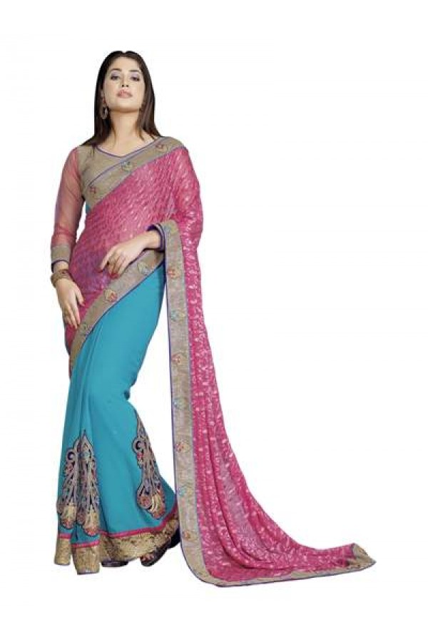 Heavy Designer Classy Pink With Blue Color Embroidered  Party Wear Saree-CB9517 ( ST-266 )