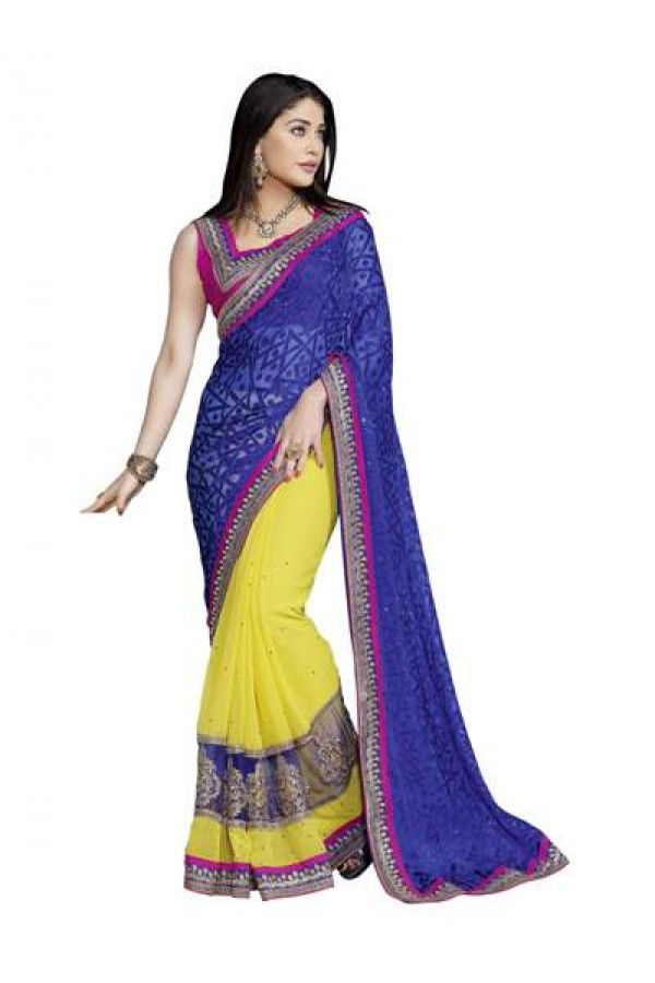 Heavy Designer Embroidered Blue With Yellow Color Party Wear Saree-CB9522 ( ST-266 )