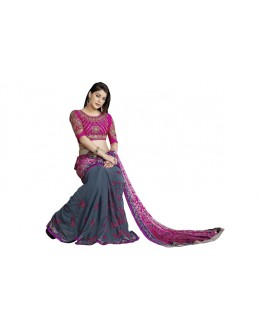 Heavy Designer Embroidered Grey With Pink Color  Party Wear Saree-CB9521 ( ST-266 )