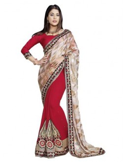 Heavy Designer Fancy Beige & Red Color Embroidered  Party Wear Saree-CB9511 ( ST-266 )