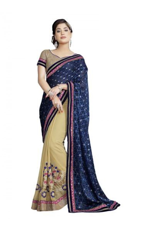 Heavy Designer Fancy Blue With Beige Color Zari  Embroidered  Party Wear Saree-CB9510 ( ST-266 )