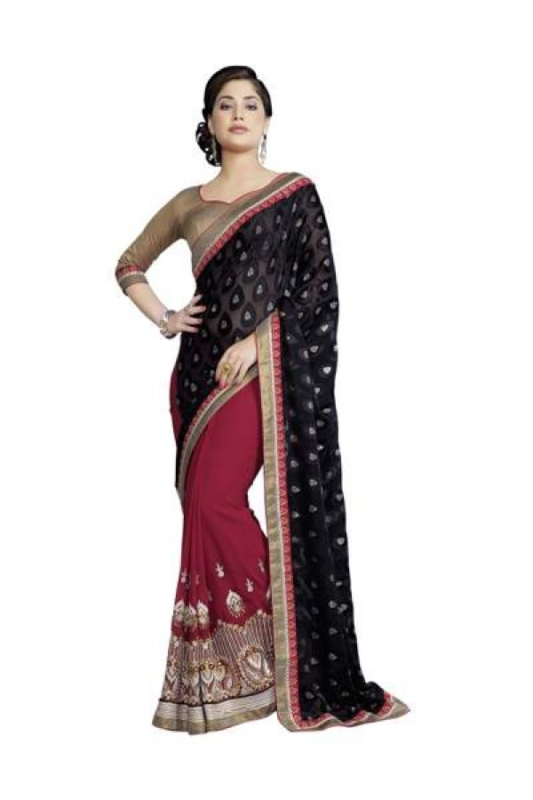 Heavy Designer Fancy Multi Embroidered Black With Maroon Party Wear Saree-CB9514 ( ST-266 )