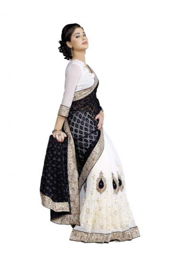 Heavy Designer Fancy White with Black Color Embroidered  Party Wear Saree-CB9509 ( ST-266 )
