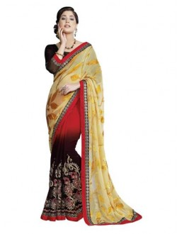 Heavy Designer Multicolor Embroidered  Party Wear Saree-CB9518 ( ST-266 )
