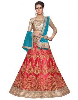 Party Wear Pink Net Lehenga - Aakira 321201