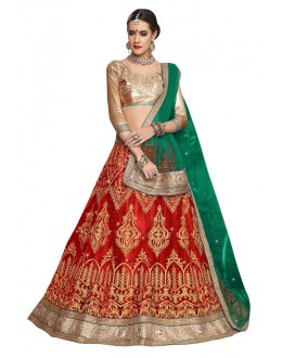 Festival Wear Red Net Lehenga - Aakira 321203