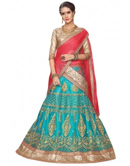 Traditional Wear Sky Blue Net Lehenga - Aakira 321204