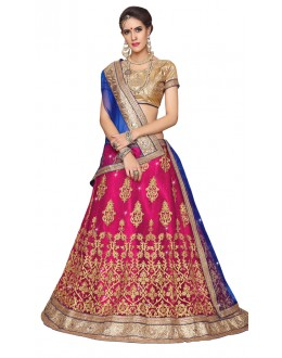 Wedding Wear Pink Net Lehenga - Aakira 321205