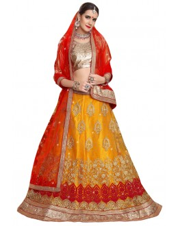 Ethnic Wear Yellow Net Lehenga - Aakira 321206