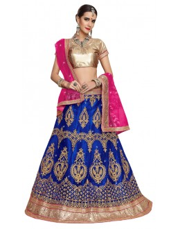 Party Wear Blue Net Lehenga - Aakira 321207