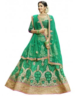 Festival Wear Green Net Lehenga Choli - 23002
