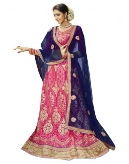 Wedding Wear Pink Net Lehenga Choli - 23003