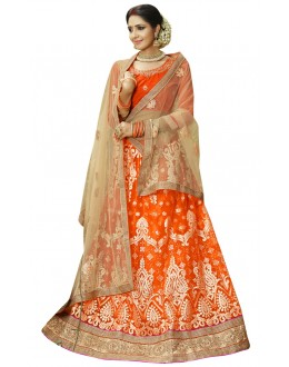 Wedding Wear Orange Net Lehenga Choli - 23007
