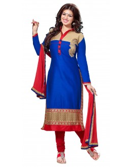 Designer Embroidered Royal Blue Cotton  Straight Churidar Suit-1001
