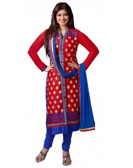 Designer Red & Blue Cotton Straight Churidar Suit-1005( ST-AT )