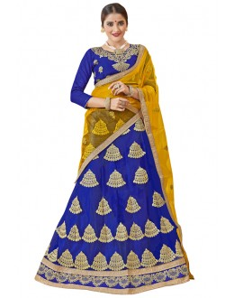 Party Wear Blue Net Lehenga Choli - 19002