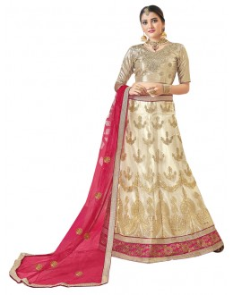 Wedding Wear Beige Net Lehenga Choli - 19004