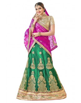 Ethnic Wear Green Net Lehenga Choli - 19006