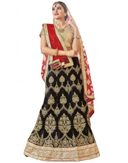 Party Wear Black Net Lehenga Choli - 19007