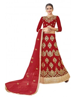 Festival Wear Red Net Lehenga Choli - 19008