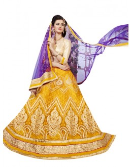 Traditional Yellow & Blue Net Lehnega Choli - DELL QUEEN5906