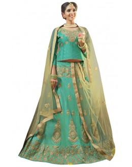 Wedding Wear Sea Green Banglori Silk Lehenga Choli - 28005