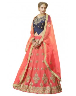 Traditional Wear Orange Banglori Silk Lehenga Choli - 28006