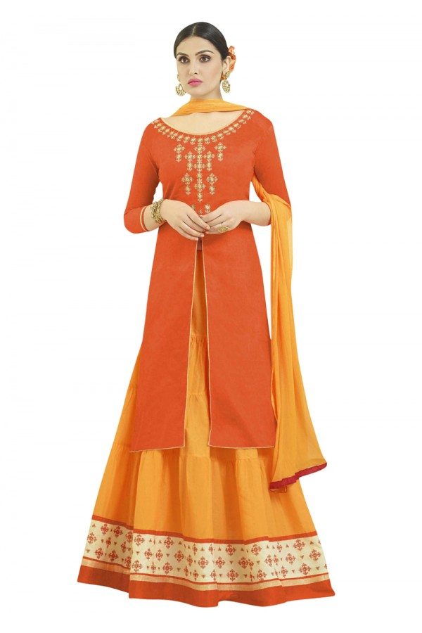 Festive Wear Orange Embroidered Lehenga Suit - 1001