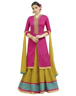 Festive Wear Pink & Lemon Green Lehenga Suit - 1002