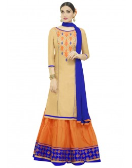 Designer Beige & Orange Lehenga Suit - 1003