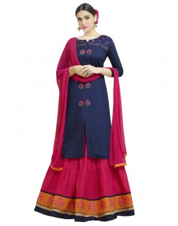 Wedding Wear Blue & Pink Lehenga Suit - 1004
