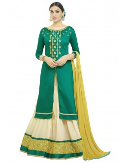 Sea Green Designer Embroidered Lehenga Suit - 1005