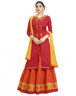 Festive Wear Red & Orange Lehenga Suit - 1007