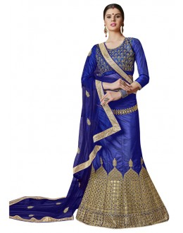 Wedding Wear Blue Banglori Silk Lehenga Choli - 25002