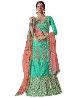 Wedding Wear Sky Blue Banglori Silk Lehenga Choli - 25006