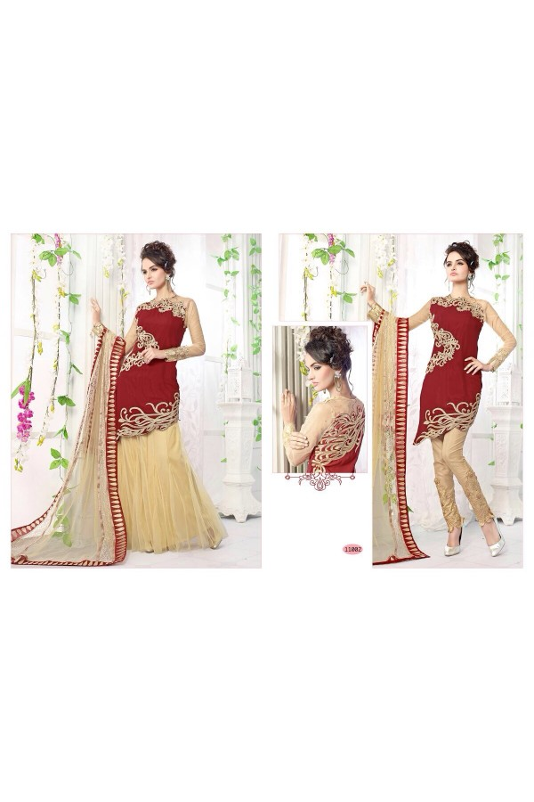 StarMart Fashionable Georgette+Net Semi-Stitch Salwar Kameez Suits-11002