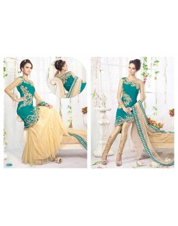 Fashionable Georgette+Net Semi-Stitch Salwar Kameez Suits-11006