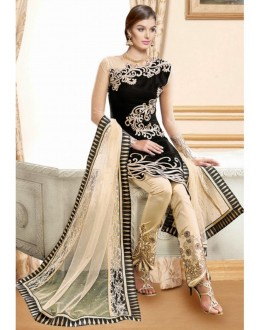 Party Wear Black & Beige Georgette Lehenga Suit  - 11001