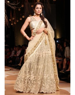 Bollywood Replica - Amrita Arora in Designer Golden Net Lehenga Saree - 346 (OM-VOL-10)