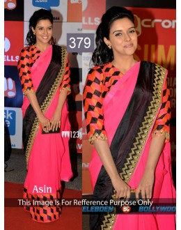Bollywood Replica - Asin in Designer Georgette Pink and Black Color Saree - 379 (OM-VOL-12)