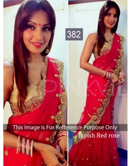 Bollywood Replica - Bipasha Basu Designer Georgette Red Lehenga Saree - 382 (OM-VOL-12)