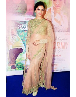 Bollywood Replica - Deepika Padukone Designer Net Pink Grey Saree - 383 (OM-VOL-12)
