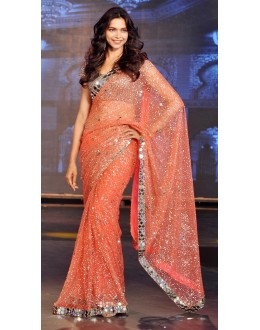 Bollywood Replica - Deepika Padukone in Designer Net Orange Saree - 390 (OM-VOL-12)