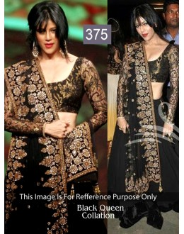 Bollywood Replica - Designer Net Georgette Black Color Lehenga - 375 (OM-VOL-11)