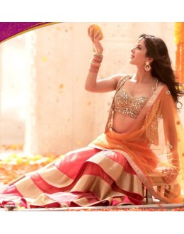 Bollywood Replica - Katrina Kaif in Designer Net Peach & Gold Color Lehenga - 370 (OM-VOL-11)