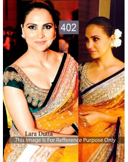 Bollywood Replica - Lara Dutta in Designer Net Velvet Mustard Yellow Saree - 402 (OM-VOL-12)